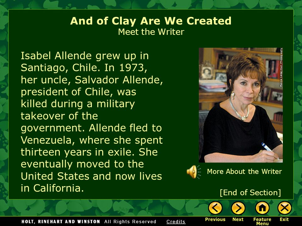 And of Clay Are We Created Meet the Writer