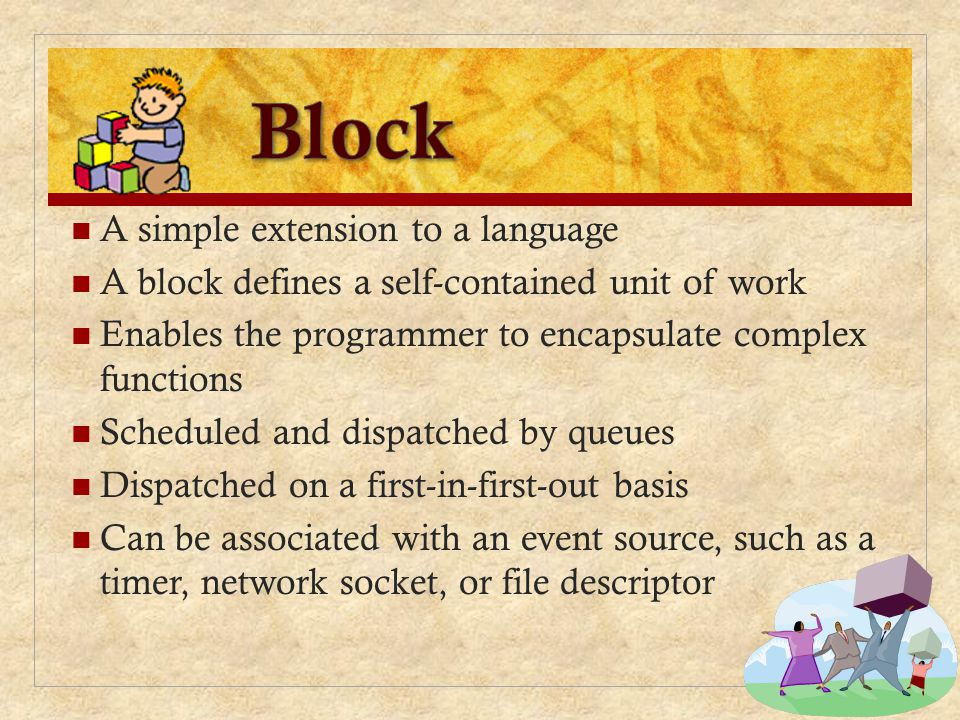 Block A simple extension to a language