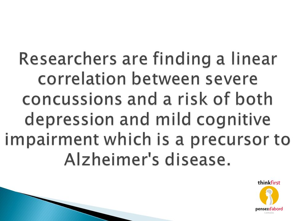 Researchers are finding a linear correlation between severe concussions and a risk of both depression and mild cognitive impairment which is a precursor to Alzheimer s disease.