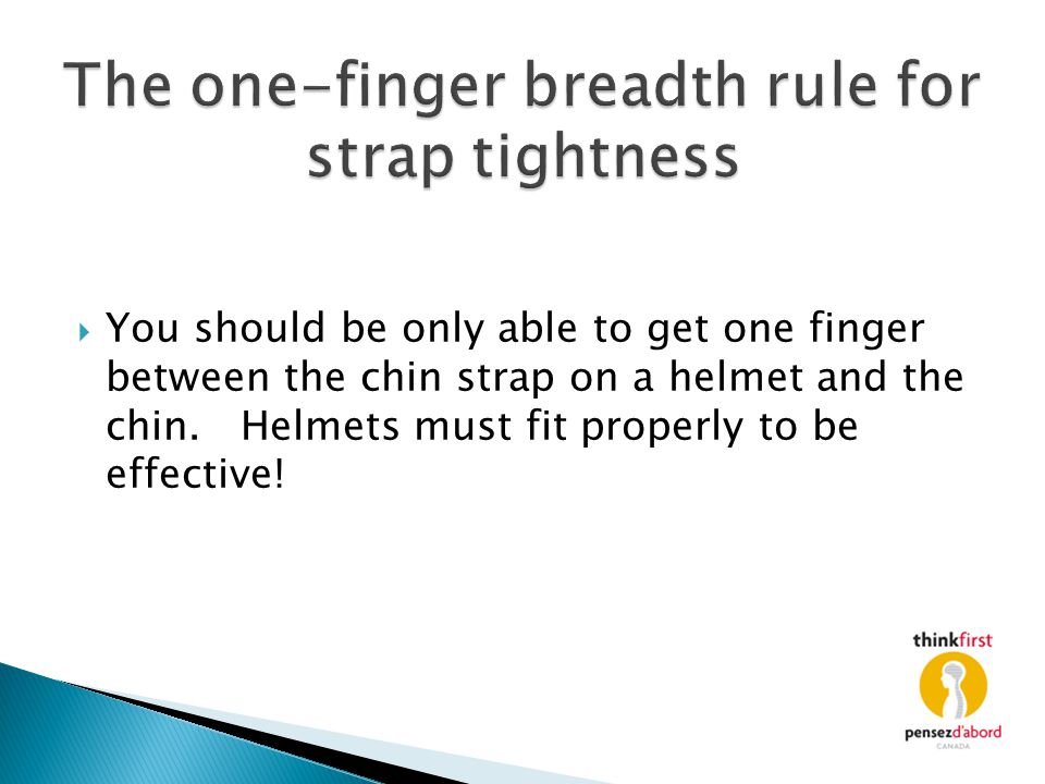 The one-finger breadth rule for strap tightness
