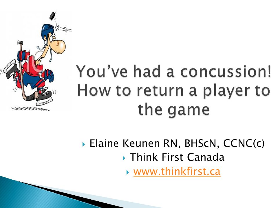 You've had a concussion! How to return a player to the game