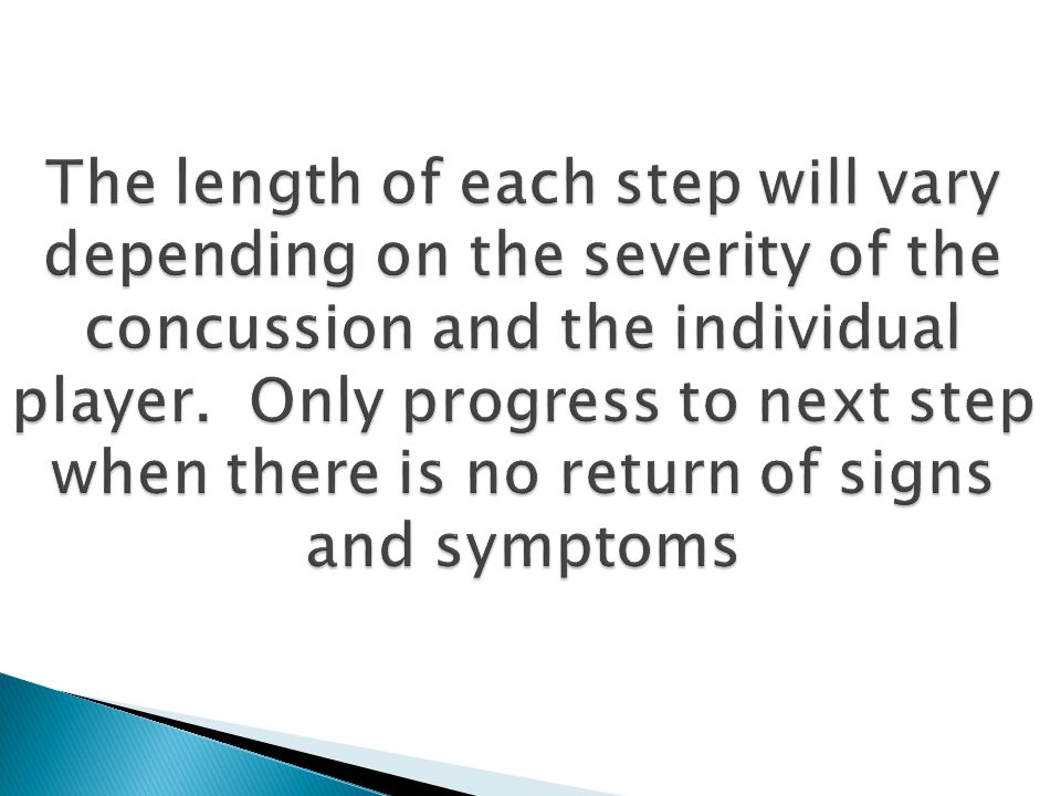 The length of each step will vary depending on the severity of the concussion and the individual player.