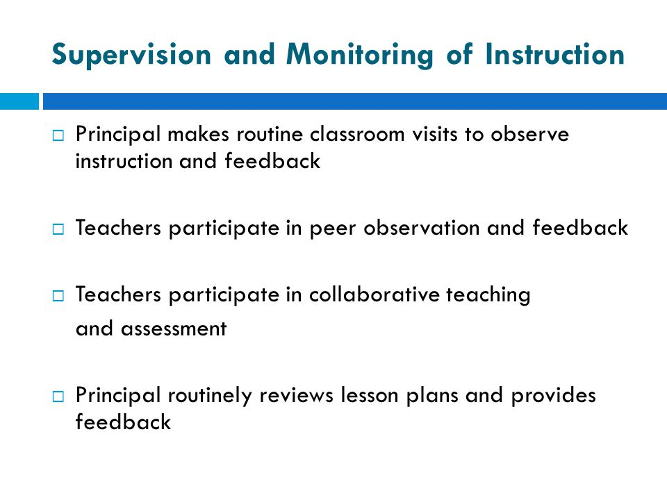 Supervision and Monitoring of Instruction