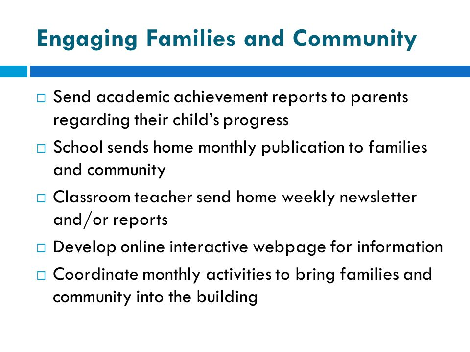 Engaging Families and Community