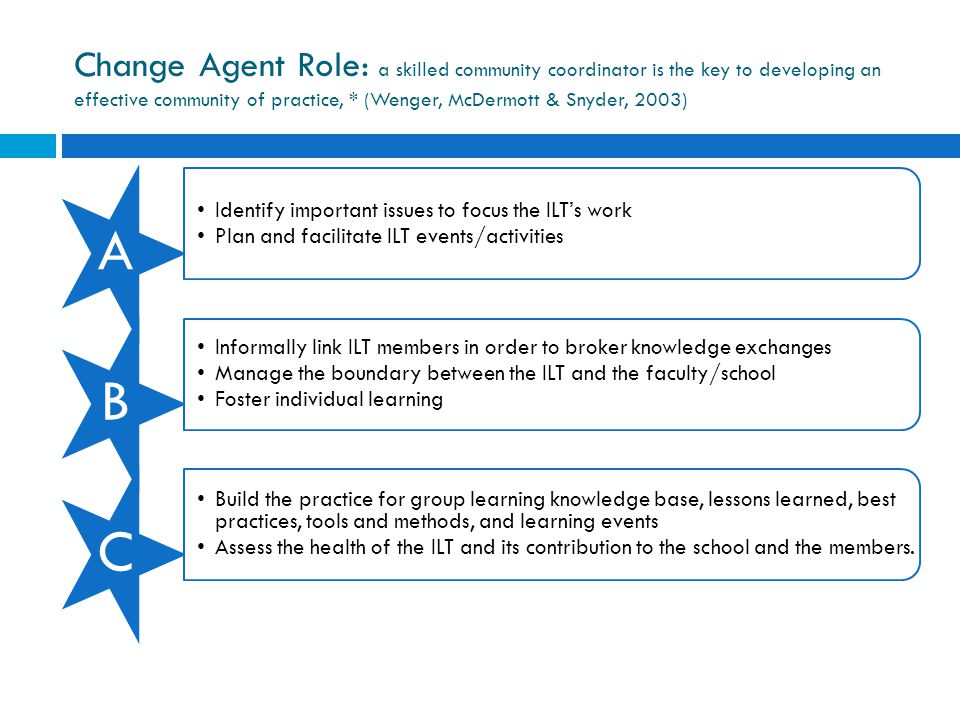 Change Agent Role: a skilled community coordinator is the key to developing an effective community of practice, * (Wenger, McDermott & Snyder, 2003)