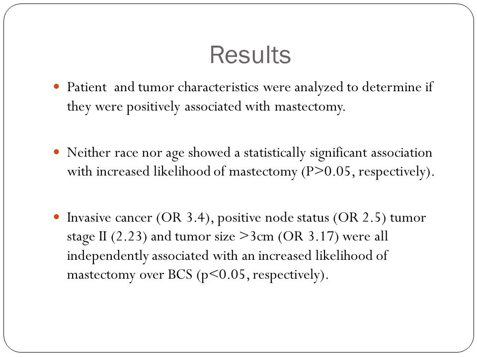 Results Patient and tumor characteristics were analyzed to determine if they were positively associated with mastectomy.