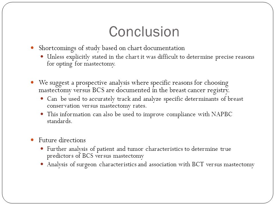 Conclusion Shortcomings of study based on chart documentation