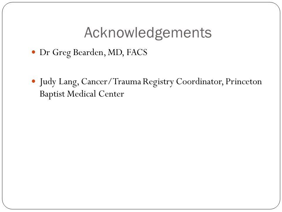 Acknowledgements Dr Greg Bearden, MD, FACS