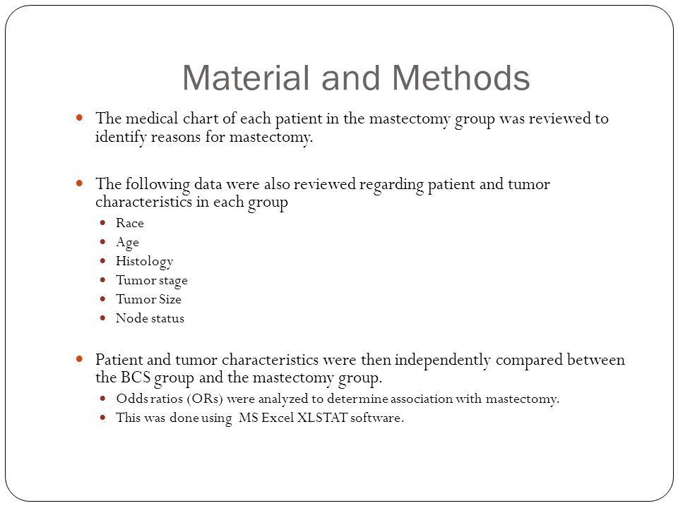Material and Methods The medical chart of each patient in the mastectomy group was reviewed to identify reasons for mastectomy.