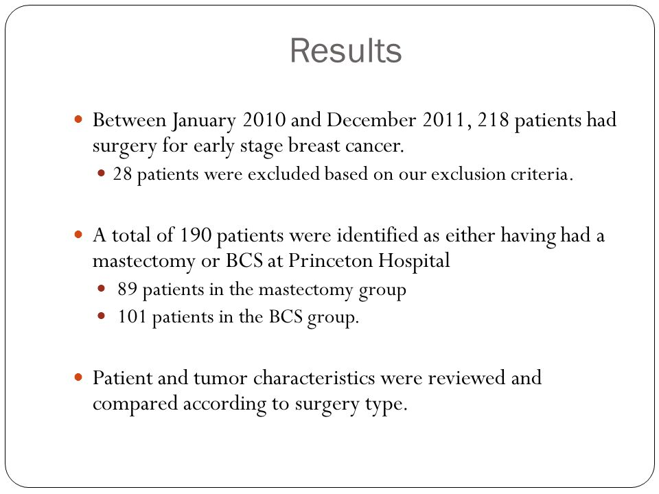 Results Between January 2010 and December 2011, 218 patients had surgery for early stage breast cancer.