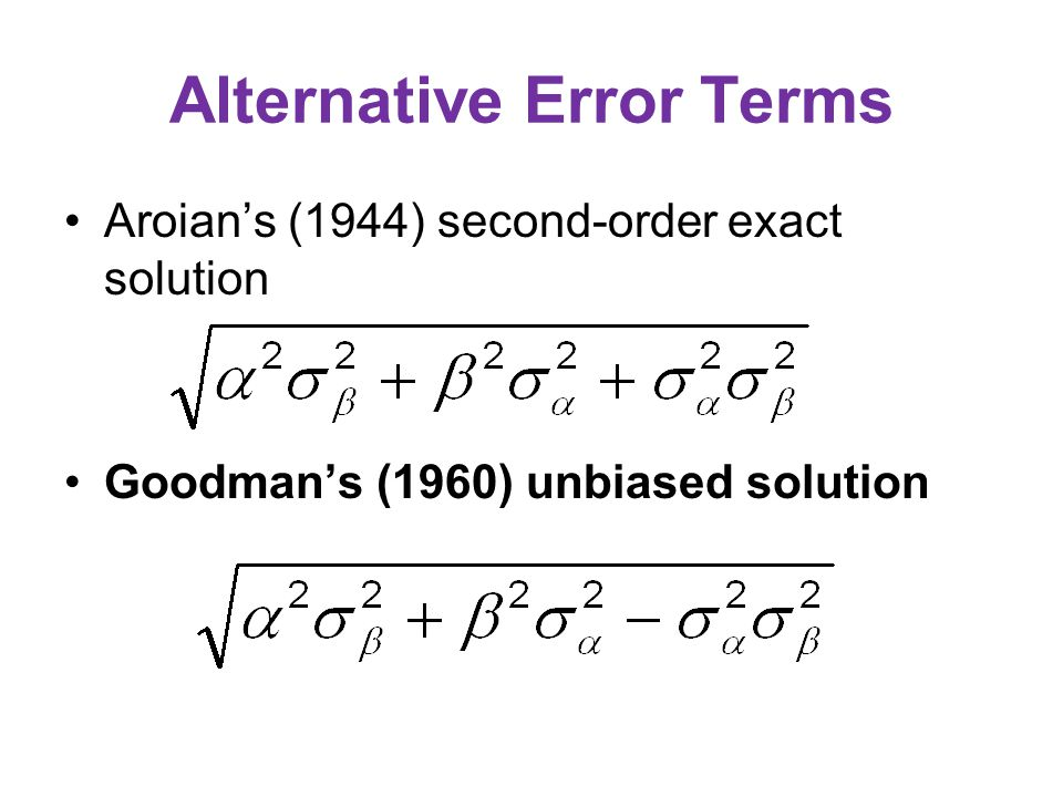 Alternative Error Terms