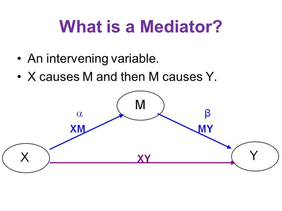 What is a Mediator An intervening variable.