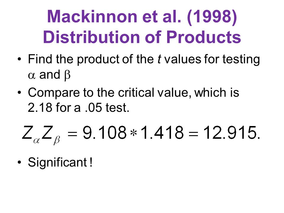 Mackinnon et al. (1998) Distribution of Products