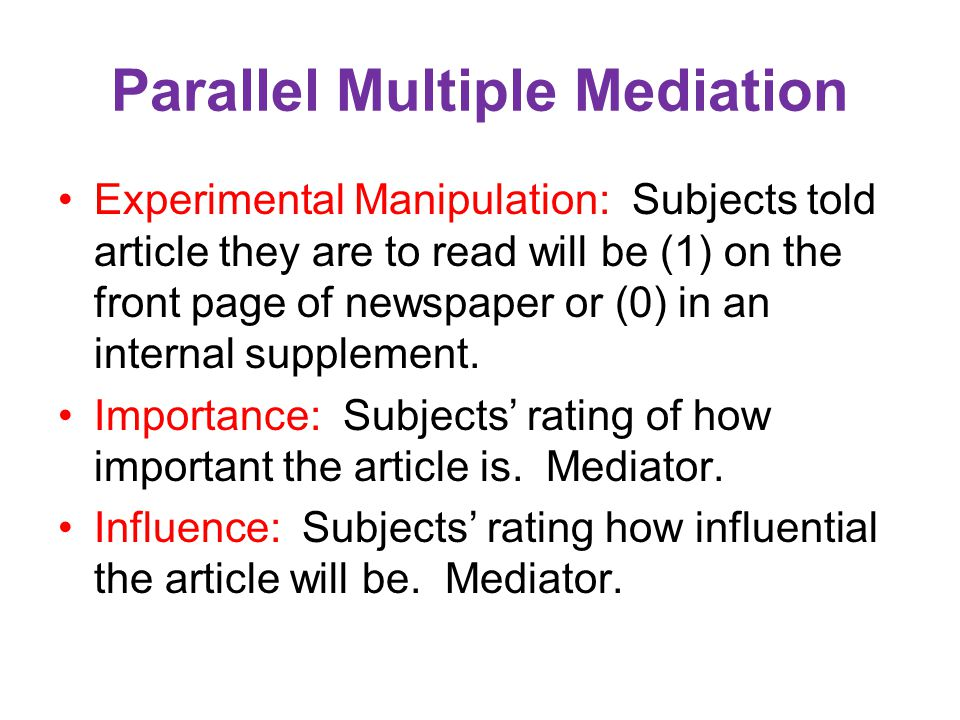 Parallel Multiple Mediation
