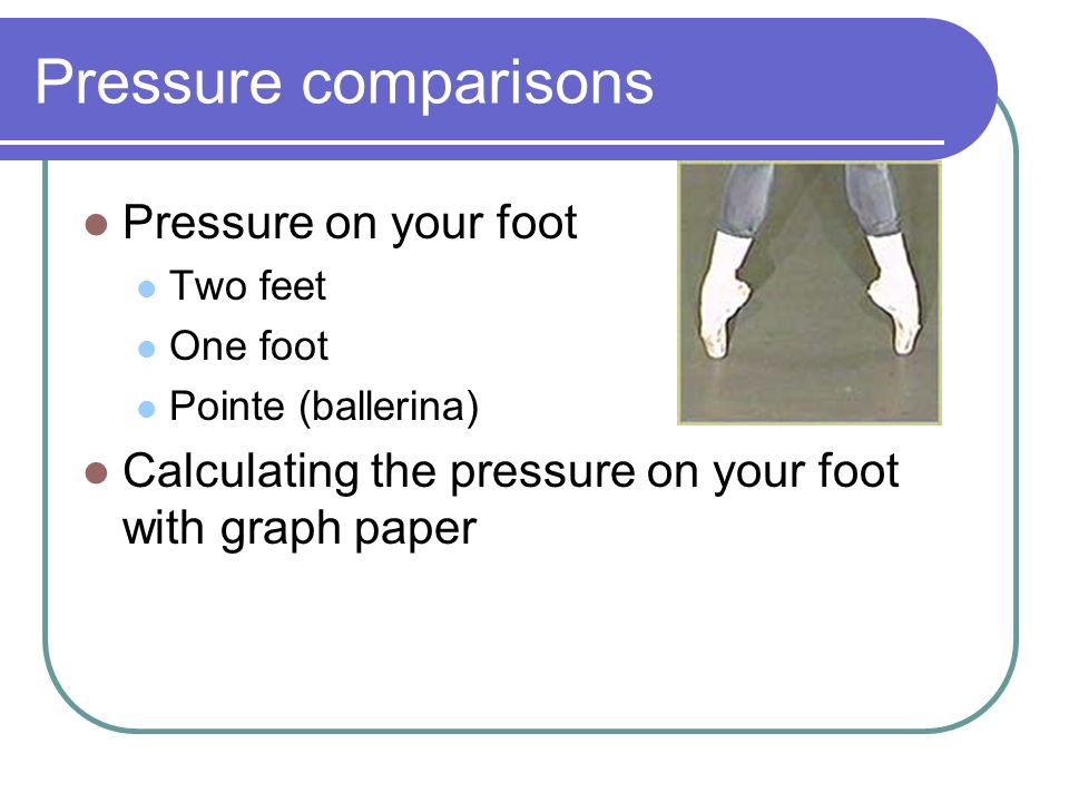 Pressure comparisons Pressure on your foot