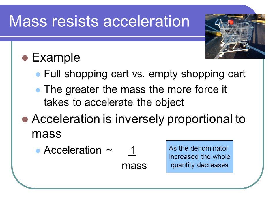 Mass resists acceleration