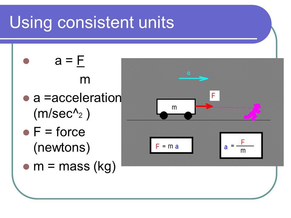 Using consistent units
