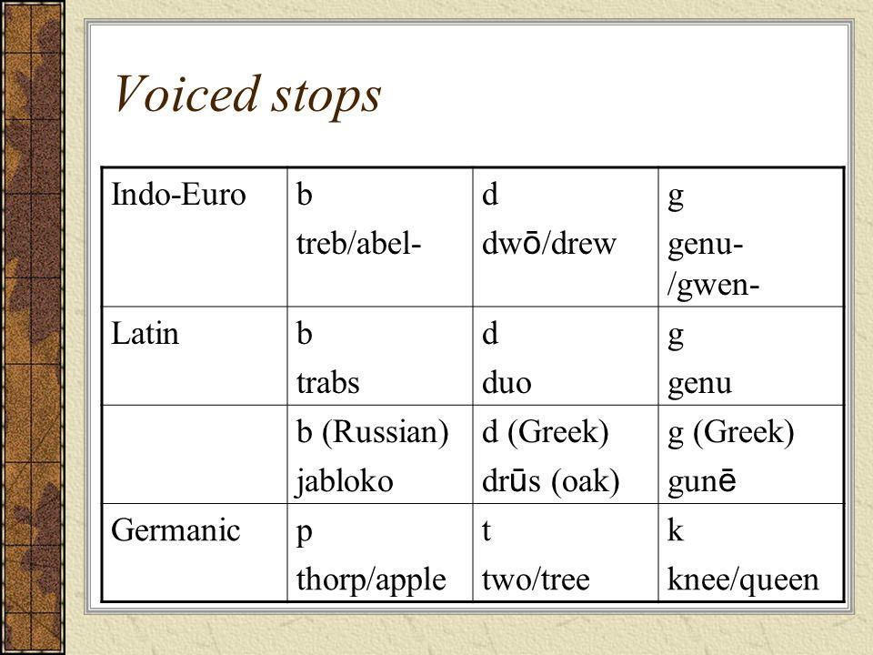 Voiced stops Indo-Euro b treb/abel- d dwō/drew g genu-/gwen- Latin