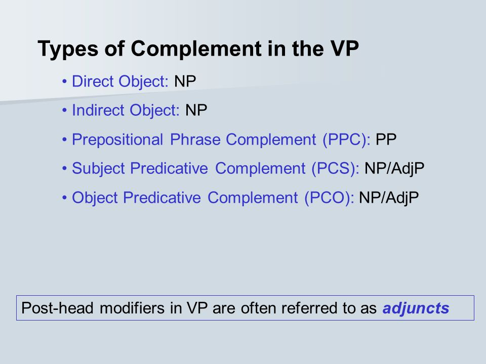 Types of Complement in the VP