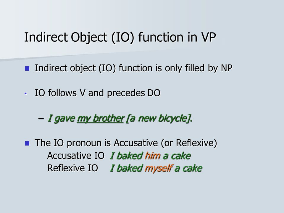 Indirect Object (IO) function in VP