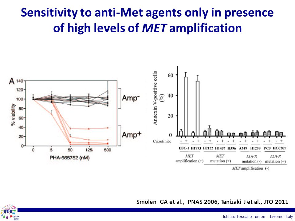 Sensitivity to anti-Met agents only in presence of high levels of MET amplification