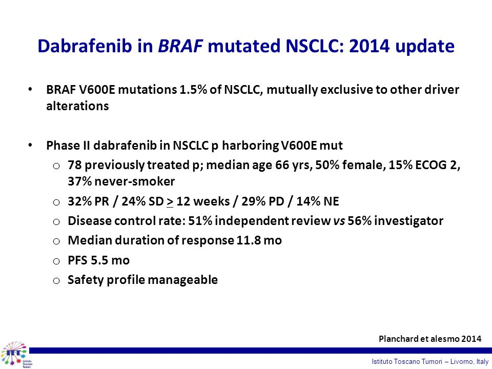 Dabrafenib in BRAF mutated NSCLC: 2014 update