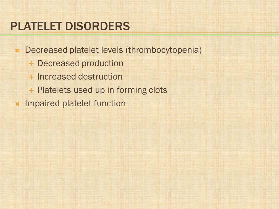 Platelet Disorders Decreased platelet levels (thrombocytopenia)