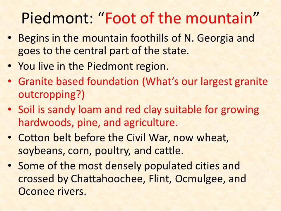 Piedmont: Foot of the mountain