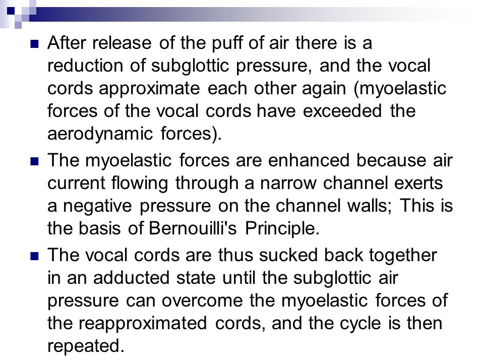 After release of the puff of air there is a reduction of subglottic pressure, and the vocal cords approximate each other again (myoelastic forces of the vocal cords have exceeded the aerodynamic forces).