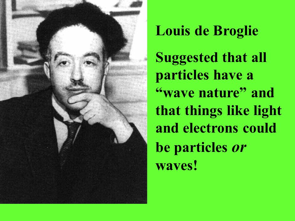 Louis de Broglie Suggested that all particles have a wave nature and that things like light and electrons could be particles or waves!