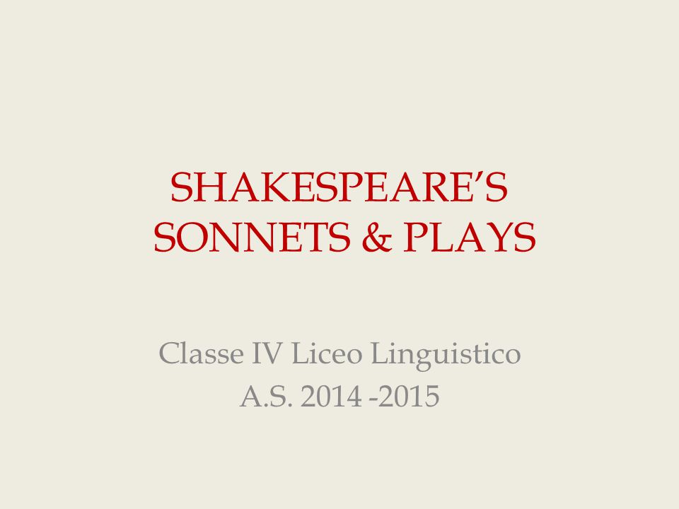 SHAKESPEARE'S SONNETS & PLAYS