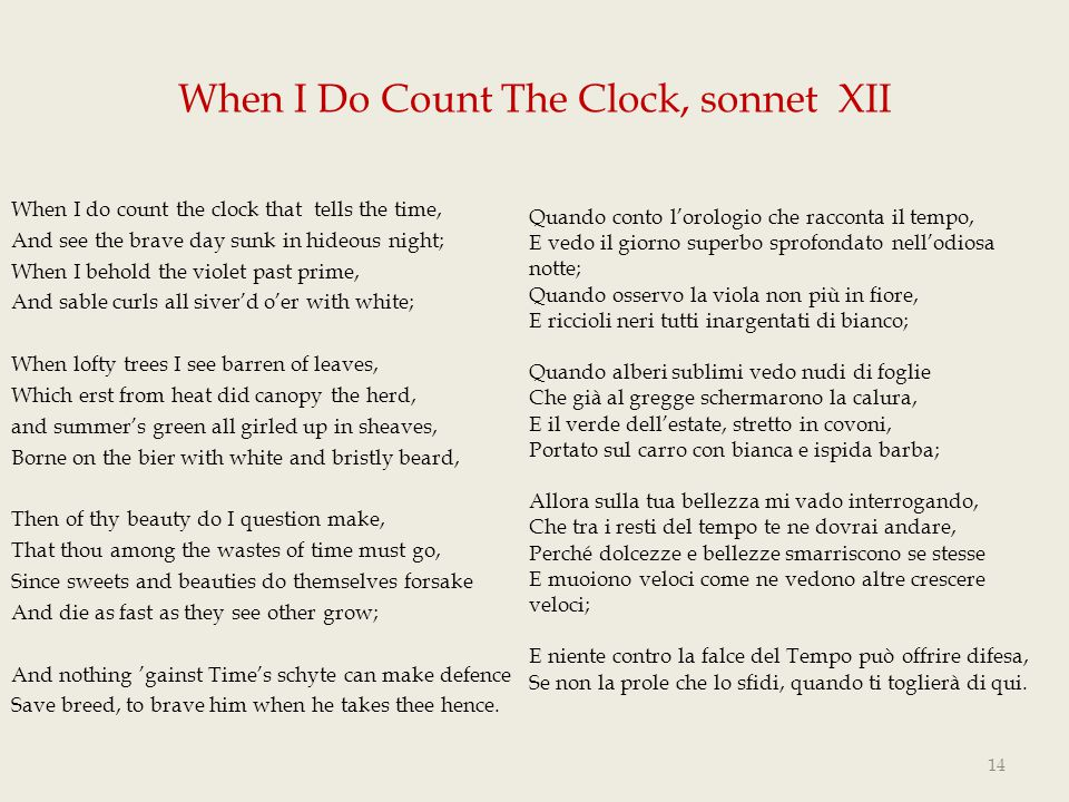 When I Do Count The Clock, sonnet XII