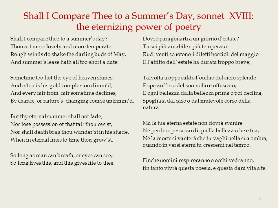Shall I Compare Thee to a Summer's Day, sonnet XVIII: the eternizing power of poetry