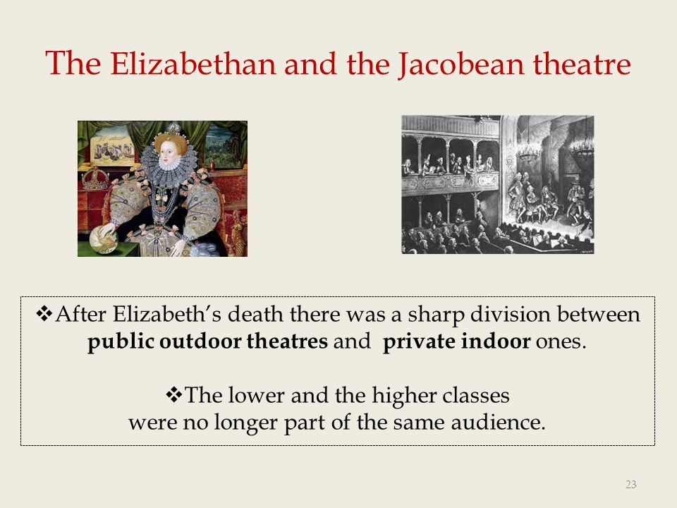 The Elizabethan and the Jacobean theatre