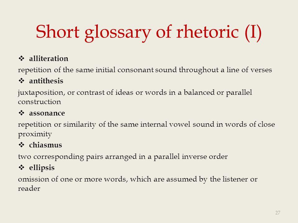 Short glossary of rhetoric (I)