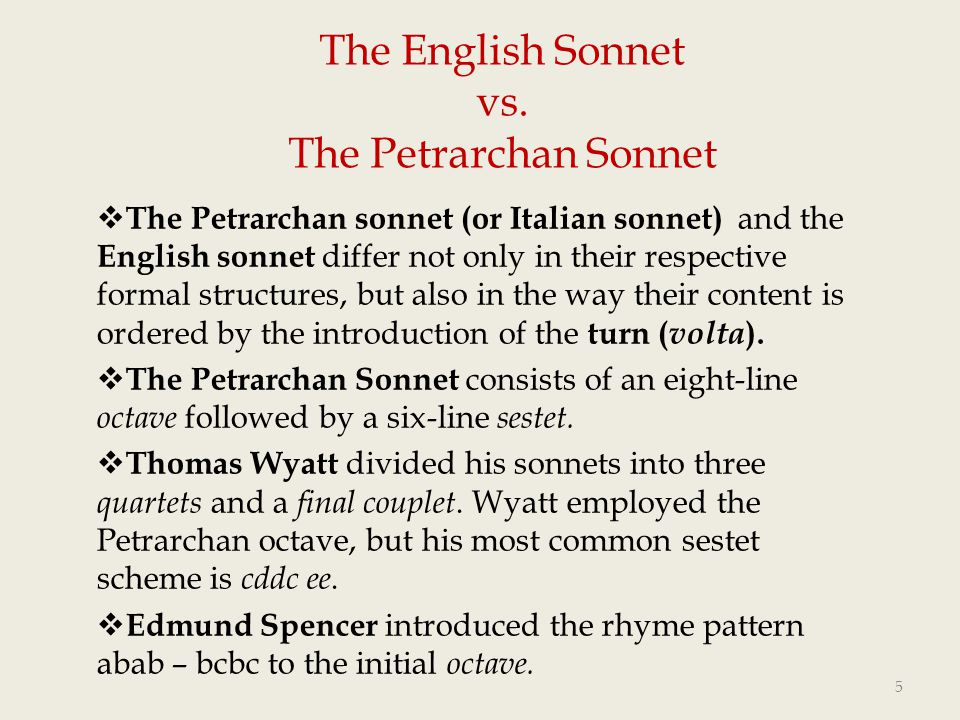 The English Sonnet Vs Petrarchan