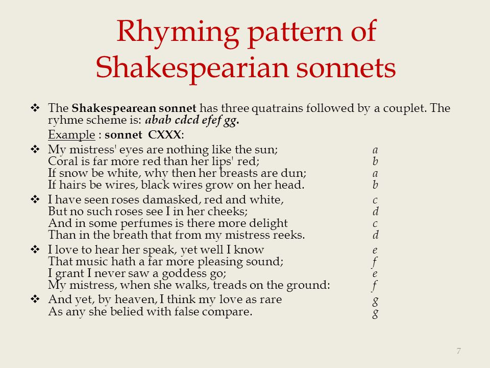 Rhyming pattern of Shakespearian sonnets