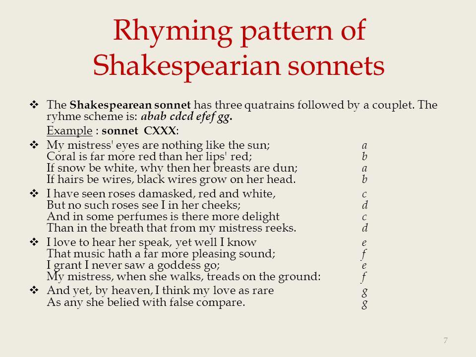 Rhyming pattern of Shakespearian sonnets