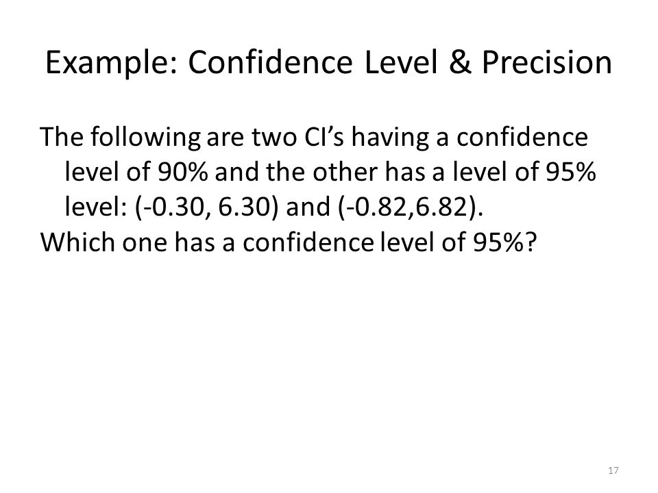 Example: Confidence Level & Precision