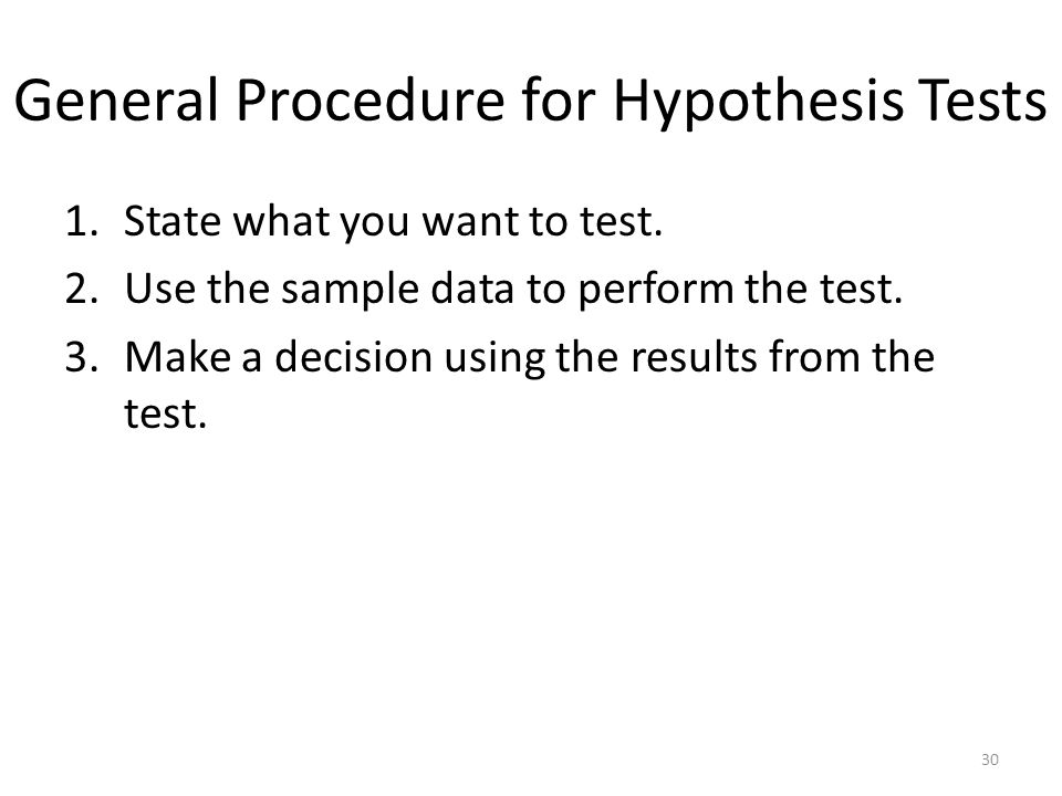 General Procedure for Hypothesis Tests