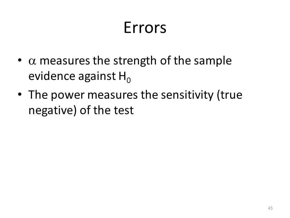 Errors  measures the strength of the sample evidence against H0
