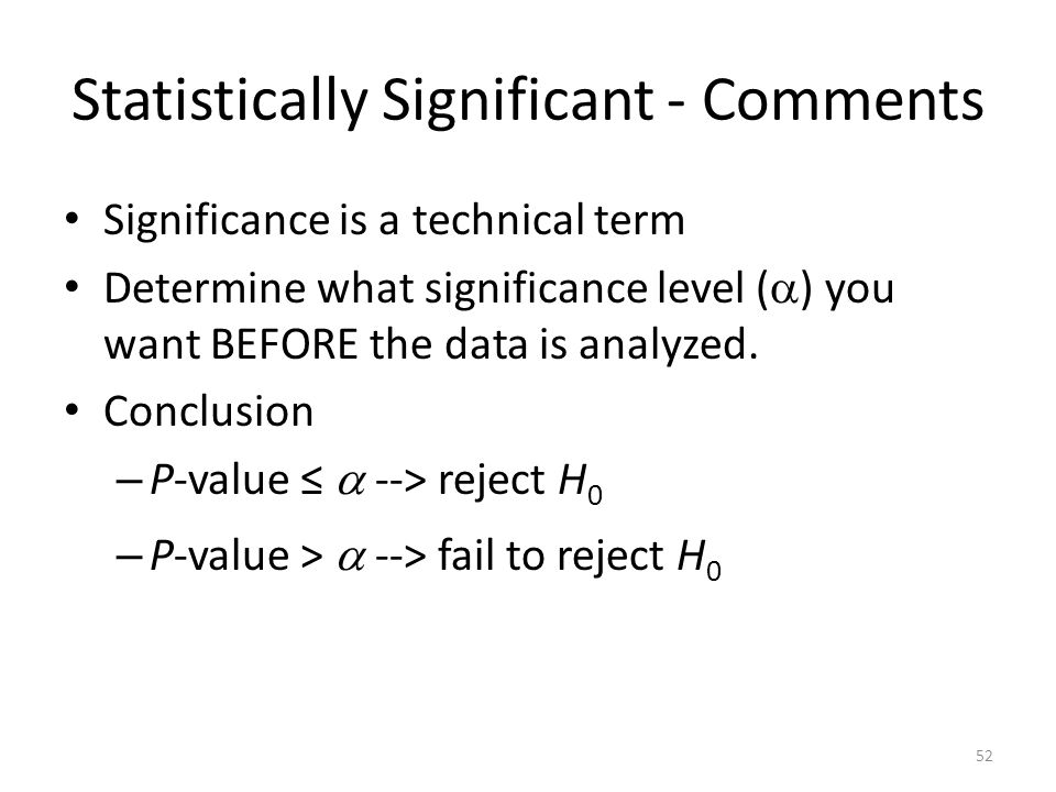 Statistically Significant - Comments