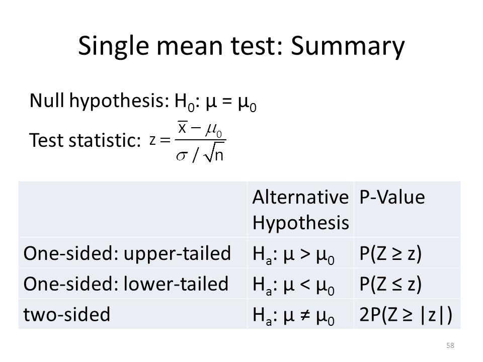 Single mean test: Summary