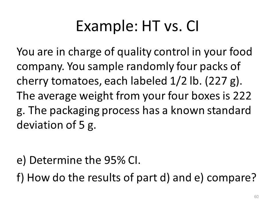 Example: HT vs. CI