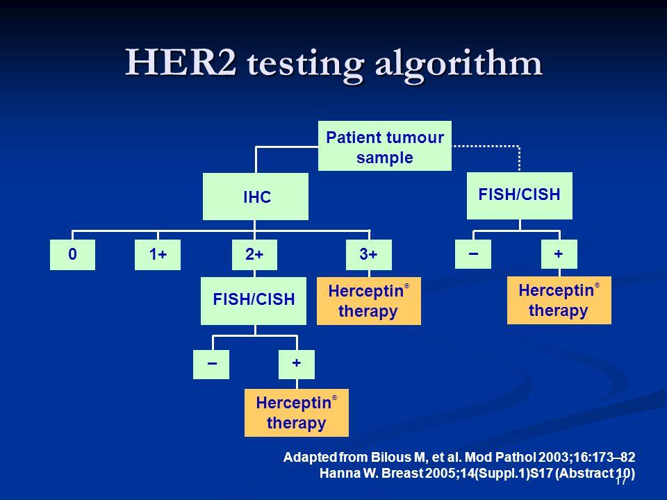 HER2 testing algorithm + – FISH/CISH Patient tumour sample IHC 2+ 3+