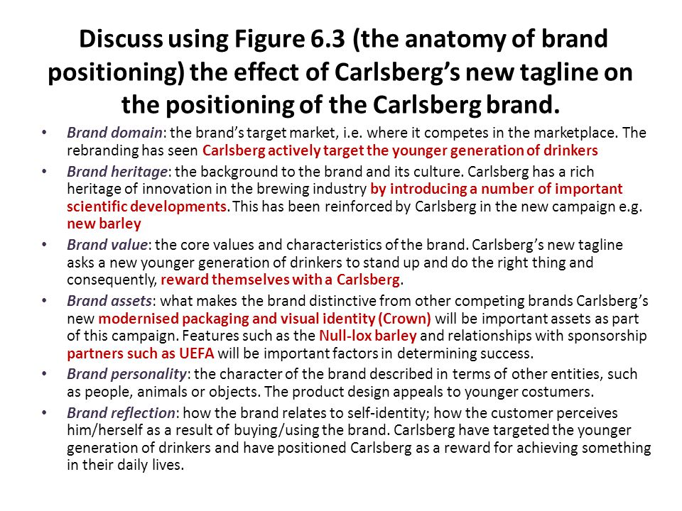 Discuss using Figure 6.3 (the anatomy of brand positioning) the effect of Carlsberg's new tagline on the positioning of the Carlsberg brand.
