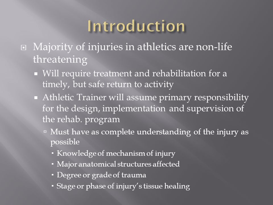 Introduction Majority of injuries in athletics are non-life threatening.