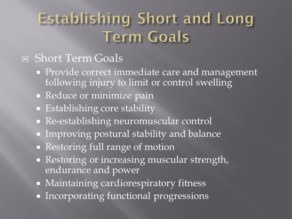 Establishing Short and Long Term Goals