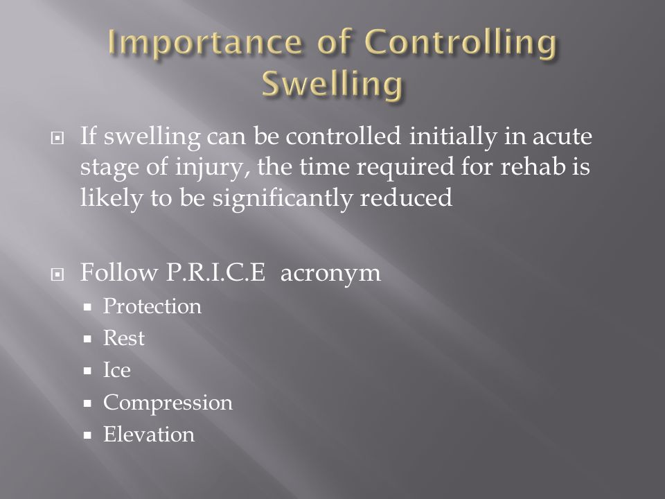 Importance of Controlling Swelling
