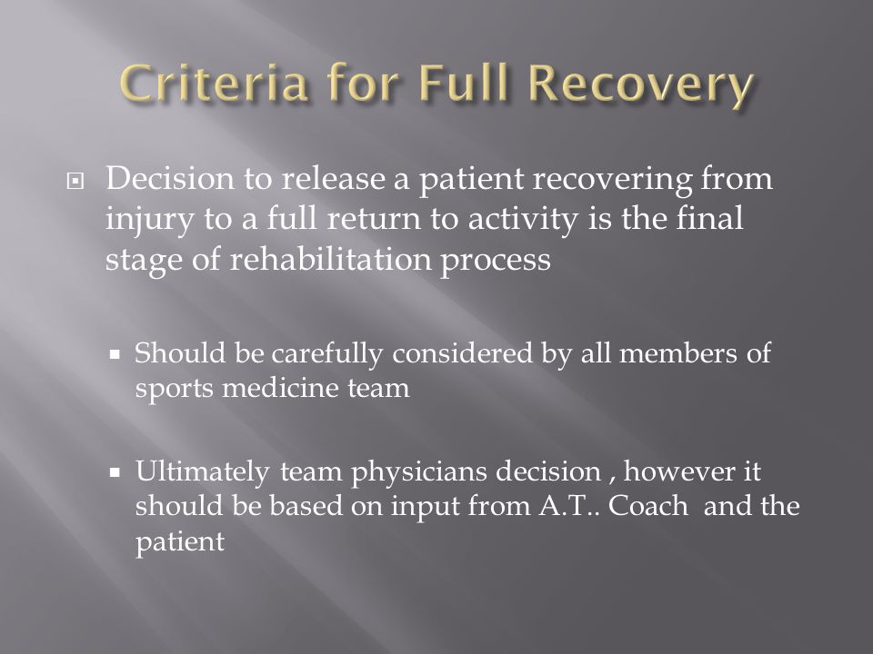 Criteria for Full Recovery